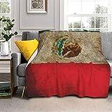 YBEAYQYXR Manta de lana de cordero de la bandera de México, 80 x 60 cm, manta de piel de zorro plateada y sherpa, suave, acogedora, cálida, perfecta para cama, sofá, sofá