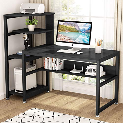 Tribesigns Computer Desk with 4-Tier Storage Shelves, 58 inch Large Modern Office Desk Study Writing Table Workstation with Bookshelf and Tower Shelf for Home Office(Black)