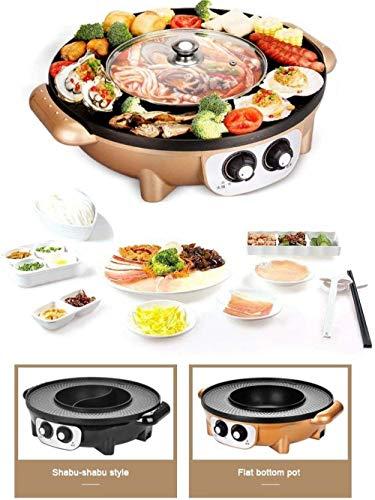 Yongqin Hot Pot Barbecue Grill Eléctrico 1350W Multifunción Eléctrica Sin Humo Antiadherente...