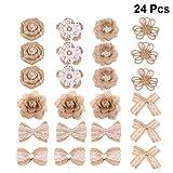 Amosfun - Set de 24 arpilleras de yute de estilo rústico, diseño de rosas