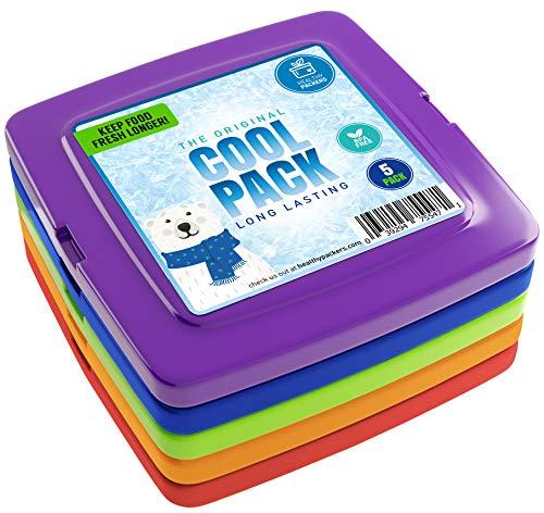 [Nieuw] Cool Pack, Slim Ice Pack voor Lunch Box - Snel invriezen en Langdurig - Vriezer Koude Packs voor Cooler Bag en Lunch Boxen - Originele Langdurige Formule - (5 Pack)