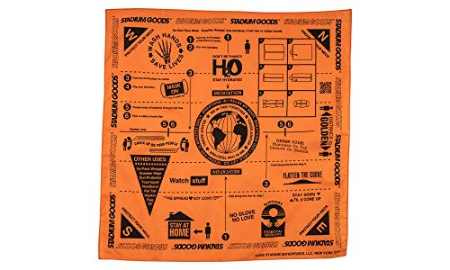 Stadium Goods Survival Bandana Face Mask Mouth Covering Protection Mask - Multi Purpose - Soft 100% Cotton 22' x 22'