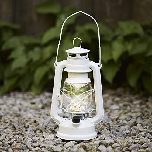Lights4fun Lanterna Tempesta Bianca di 24,5cm con 15 LED Bianchi Caldi a Pile per Uso in Interni