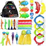 CHUCHIK Diving Toys 30 Pack, Swimming Pool Toys for Kids Includes 4 Diving Sticks, 4 Diving Rings, 6 Pirate Treasures, 3 Toypedo Bandits, 9 Fish Toys, 4 Octopus - Water Toys with a Storage Net Bag