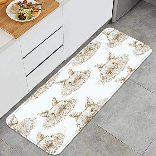 PUIO Mehrzweck-Küchenteppich-Sets,Handzeichnung des nahtlosen Musters der Kaninchen-Skizze,wasserdichte Küchenboden-Komfortmatten, super saugfähig und rutschfest