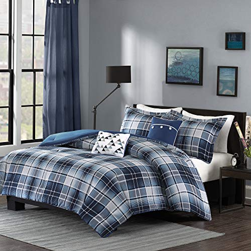 Intelligent Design All Season, Hypoallergenic Cover, Soft Bedding Set with Matching Sham, Decorative Pillow Cozy Comforter Casual Cabin Lodge Plaid Design, Full/Queen, Blue, 5 Piece