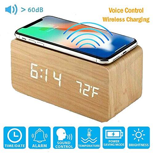 ALLOMN alarmklok, houten digitale bureau stembediening klok, met draadloos opladen, 3 niveaus helderheid, tijd/datum/vochtigheid/temperatuur scherm, 3 alarm, USB & AAA batterijen Power