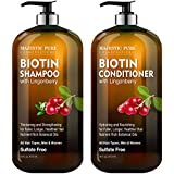 Biotin Shampoo and Conditioner Set with Lingonberry by Majestic Pure - for Hair Loss and Thinning Hair - Hydrating & Nourishing, Sulfate Free, Color Safe, For Men and Women, 16 fl oz each