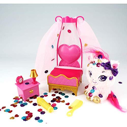 Shimmer Stars, mi Unicornio y su Cama de Princesa, Peluche Personalizable, Accesorios para el Cabello, Juguete Infantil, Purpurina Reutilizable, Rosa, 4 años