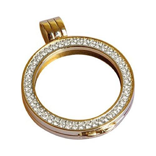 Quoins QHO-06S-G Münz Rahmen Medaillon small Edelstahl gold SWAROVSKI CRYSTALLIZED ELEMENTS