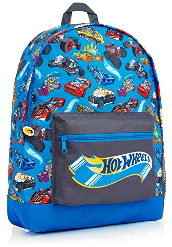 Hot Wheels School Bag, Official Kids Backpack with Cars Print, Large Blue Rucksack for School Sports Travel, Back to School Supplies for Children, Gifts for Boys Girls Teenagers