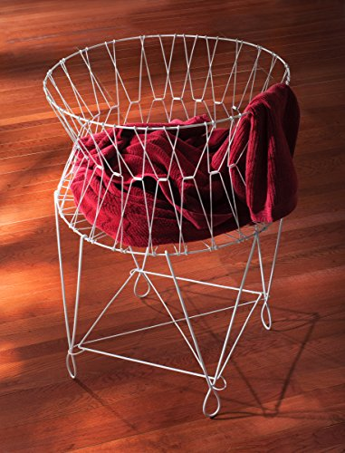 Vintage White Wire Laundry Basket Hamper 27x27x40 by KINDWER