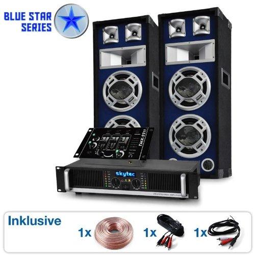 DJ PA Set Blue Star Series Beatmix 1200 Watt Anlage Boxen mit Verstärker Mixer & Kabelset (3-Kanal-DJ-Mixer, PA-Boxen mit LED-Lichteffekt, für bis zu 250 Personen) blau