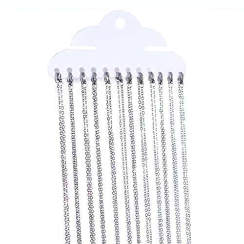 Romance Jewelry 18 Inch Stainless Steel Link Cable Chain Necklaces for Jewelry Making, 12 Pieces