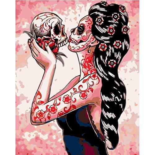 Pintar por Numeros para Adultos y Niños, Mujer esqueleto DIY Pintura por Números con Pinceles y Pinturas Decoraciones para 40 x 50 cm Sin Marco