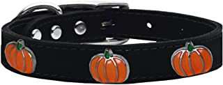 Mirage Pet Products 83-114 Bk18 Pumpkin Widget Genuine Leather Dog Collar, Size 18, Black