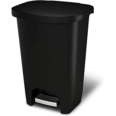 GLAD GLD-74030 Plastic Step Trash Can with Clorox Odor Protection of The Lid | 13 Gallon, 50 Liter, Black