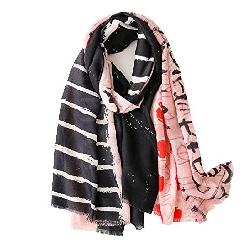 Pintado a mano pintura al óleo bufanda de seda, bufanda de algodón y lino, mantón largo salvaje de la costa, toalla de playa. SL2104-055 rosa negro