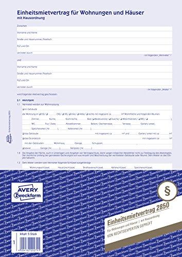 AVERY Zweckform 2850 Einheitsmietvertrag für Wohnungen und Häuser (A4, 5 Sätze mit Hausordnung, 6-seitig im Bogenformat, regelt alle Punkte des Mietverhältnisses, von Rechtexperten geprüft)