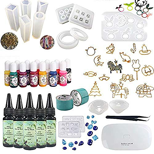 Frenshion 5 pièces 30ML Crystal Epoxy Resin UV Colle, 1 lampe Tweezer 14Pcs Transparent Silicone Mold 100 Anneaux 13 couleur Liquid Pigment 17 Metal Jewelry avec 2X 5 mètres Ruban Pour DIY Design