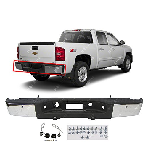BUMPERS THAT DELIVER - Chrome, Steel Rear Step Bumper Assembly for 2007-2013 Chevy Silverado GMC Sierra 1500 w/Park 07-13, GM1103148