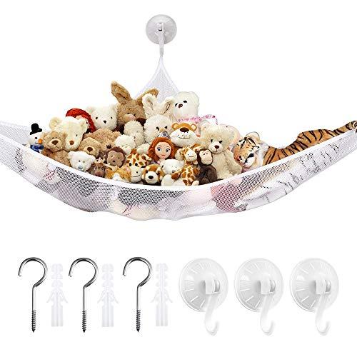 LATTCURE Spielzeug Hängematte Netze, Hängender Toy Organizer Bag Speichernetz Aufbewahrung Netz für Spielzeug Kinderraum Teddybären (weiß)