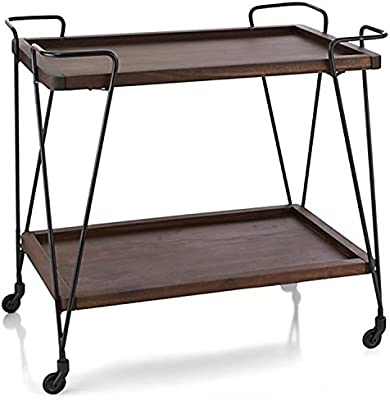 WGX Design For You Two Lyers Wood and Metal Wine Rack with Wheels Kicthen Bar Dining Room Tea Wine Holder Serving Cart Furniture
