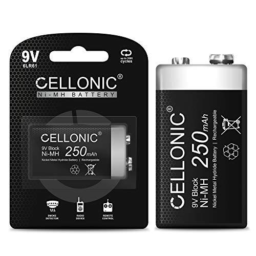 CELLONIC Pila 9V 250mAh Recargable Batería Recargable 9V - Pila de 9 voltios con Gran Capacidad y Larga duración - 1x 9V / E Block / 6F22 / 6LR61 / AM-61 - Bateria NiMH de 9 voltios