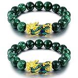 Goldenlight 2 Pcs Pi Xiu Bracelet Feng Shui Green Jade Wealth Bracelet for Women Men Adjustable Elastic (2Pcs Green Jade Stone, 14mm bead)