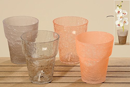 Boltze Übertopf Pflanztopf Orchideentopf Vase Glas apricot grau Crackle Stückpreis