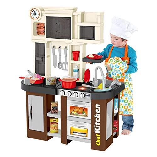 YLLN Kids Kitchen Playset Pretend, 58 Piezas de Juguetes de Comida para niños pequeños, Juego de Accesorios de Juguete con Sonidos Reales y luz, Agua Corriente, Vapor, Regalos para niños de 3,4,5,6,7