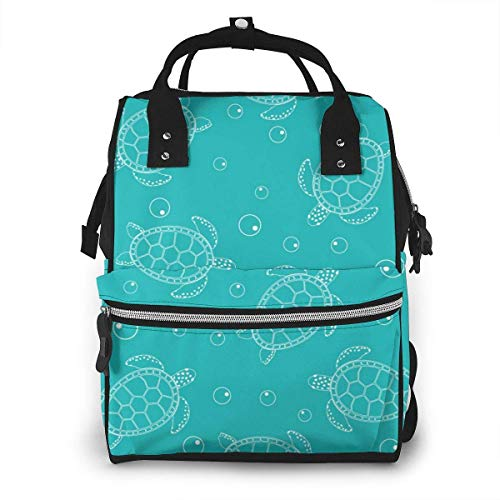 UUwant Sac à Dos à Couches pour Maman Cute Turtles on Blue Plain Diaper Bags Large Capacity Diaper Backpack Travel Nappy Bags Mummy Backpackling