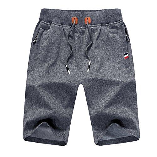 JustSun Sport Shorts Herren Kurze Hose Sommer beiläufig Baumwolle Elastische Taille Gym Sweat Shorts Grau Medium