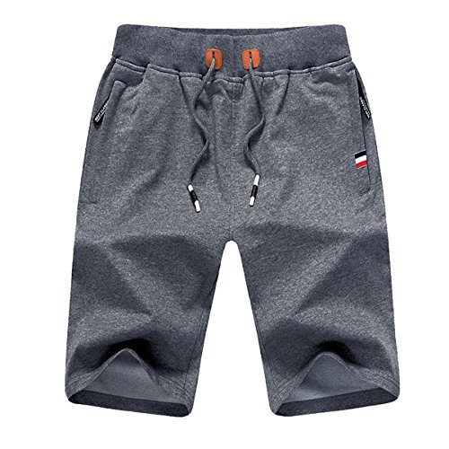 JustSun Mens Shorts Casual Sports Classic Fit Joggers Shorts with Elastic Waist Zipper Pockets Dark Grey Large
