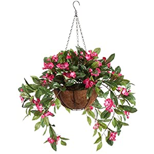 OakRidge Fully Assembled Impatiens Hanging Basket – Large Artificial Flower Outdoor or Indoor Decoration with Hook – Pink