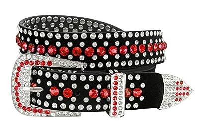 "Women Rhinestone Belt Fashion Western Cowgirl Bling Studded Design Suede Leather Belt 1-1/4""(32mm) wide (Red, 36'' L)"
