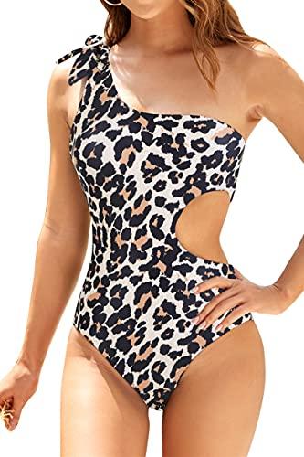 Adisputent Womens One Piece Swimsuits Cutout Swimwear Tummy Control Monokini Sexy One Shoulder Bathing Suits Leopard XL