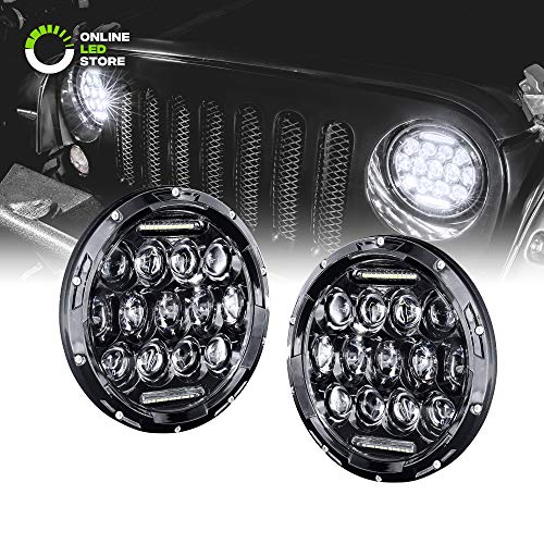 7' Round LED Headlight with DRL [65 Watt] [Universal] [Plug & Play] [Energy Efficient]...