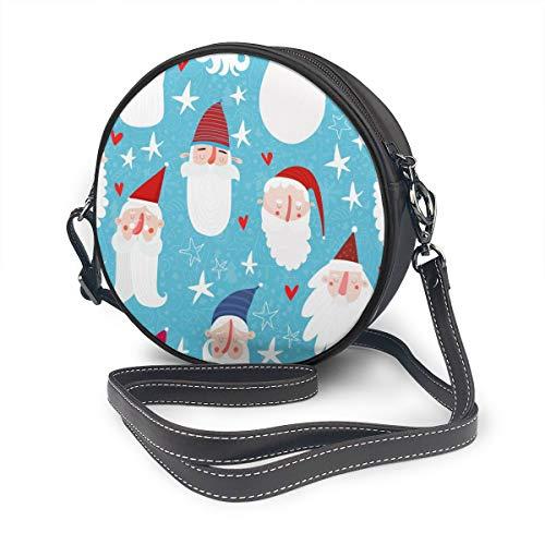 Bandolera de piel con diseño de gorros de Papá Noel, bigote y barbas para Navidad y Año Nuevo, con correa ajustable para el hombro para mujer