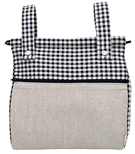 Bolso panera o talega para carrito de bebé. Vichy (Lino&Vichy negro)