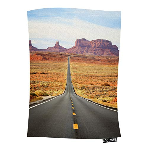 Nicokee American Road Throw Blanket Arizona Border Monument Valley Famous American Road Highway Sunset Western Flannel Throws Blanket for Couch, Bed, Chair, Traveling and Camping