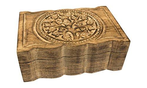Schmucktruhe Lebensbaum, Holztruhe für Schmuck, Aufbewahrung, Truhe aus Holz