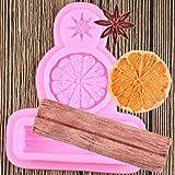 FGHHT Molde de Silicona de anís Estrellado, Canela y limón, moldes de Chocolate,Molde deArcilla polimérica para Hornear,Molde para Pasteles