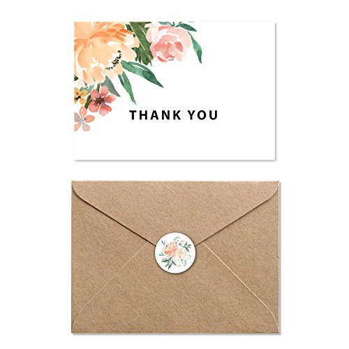 Modern Floral Blank Thank you Cards Bulk with Kraft Paper Envelopes and Stickers, Boxed Set of 40 4.5 x 6 Thank You Notes for Appreciation, Wedding and Bridal & Baby Shower,