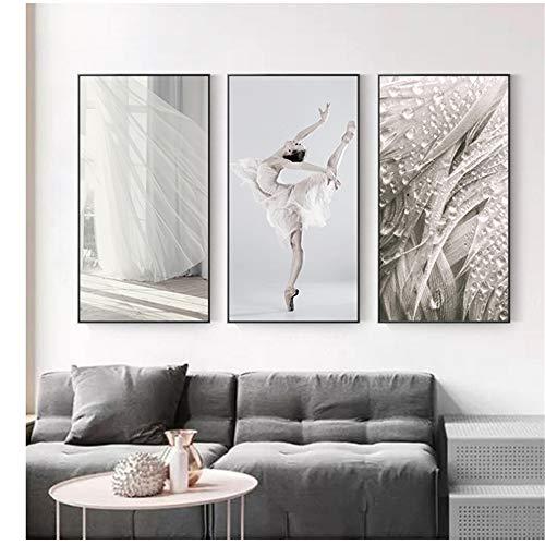 Elegante Ballet Dance Bruid Bruidsjurk Poster Prints Nordic Style Portret Pictures Wall Art Home Decor Canvas 3 schilderijen -40x80cm Geen Frame