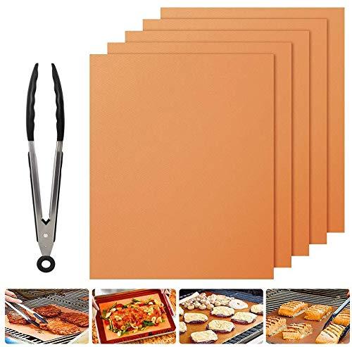 Nasharia BBQ Grillmatte 5er Set, 100% Antihaft BBQ Grillmatten Backmatte mit 9