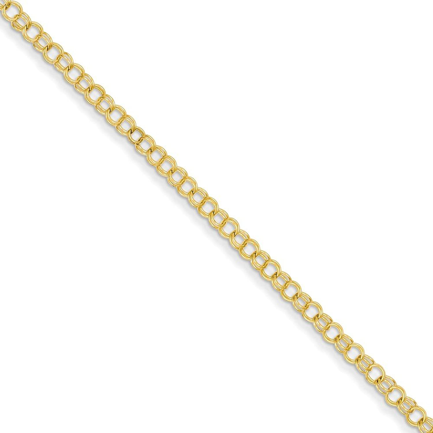 Beautiful Yellow gold 14K Yellowgold 14k 3.5mm Solid Double Link Charm Bracelet