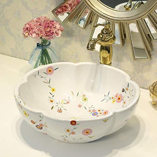 Hiwenr porseleinen badkamer-tegen-bovenkant wastafelgarderobe-handgeschilderde bak-badkamerkuip handgeschilderde ronde kuip
