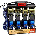 4-Pack Augo Ratchet Straps With 2 Bungee Cord