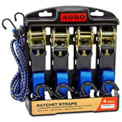 "HIGH QUALITY RATCHET TIE DOWN STRAPS – Travel with peace of mind if you've got the top rated industrial grade AUGO tie down straps! RUBBER COATED ""S"" HOOKS - Prevent your cargo and vehicle from being scratched! ERGONOMIC HANDLES ARE MOLDED ON – AUGO ..."